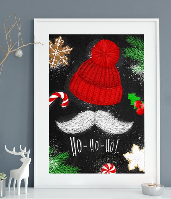 """Новорічний постер """"Ho-Ho-Ho"""" (2 розміру)"""