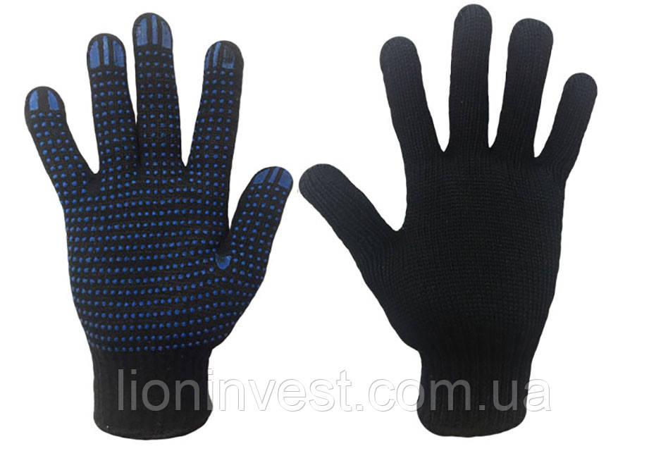 Перчатки Рабочие Трикотажные с ПВХ точкой черные