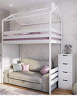 Ліжко будиночок горище білого кольору 187см і місце під диван