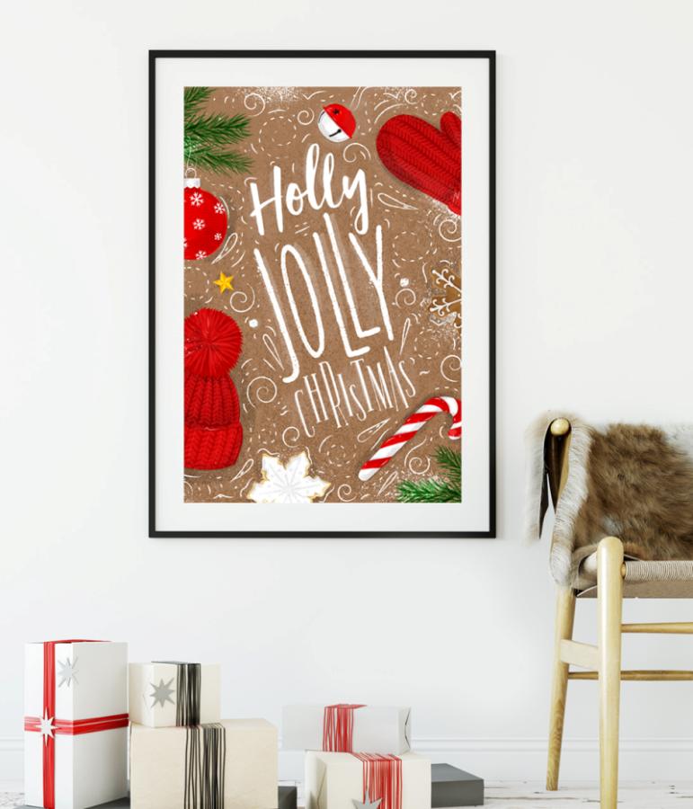 """Новорічний постер """"Holly Jolly Christmas"""" (2 розміру)"""