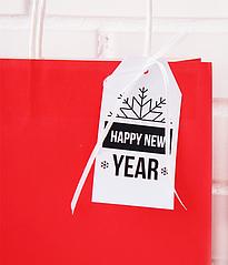 """Новогодний ярлычок для украшения подарка """"Happy New Year"""""""