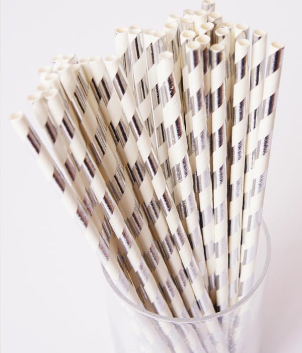 "Паперові трубочки ""Silver white stripes"" (10 шт.)"