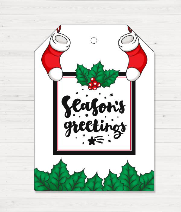 """Новогодний ярлычок для украшения подарка """"Season's Greetings"""""""