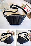 Женская маленькая классическая бананка блестящая поясная сумочка черная, фото 4