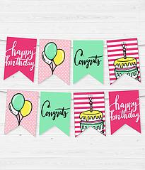 """Бумажная гирлянда """"Birthday mix"""" (12 флажков)"""