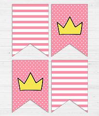 """Бумажная гирлянда """"Princess crowns"""" (8 флажков)"""
