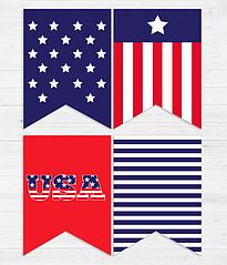 """Гирлянда из флажков """"USA"""" (12 флажков)"""