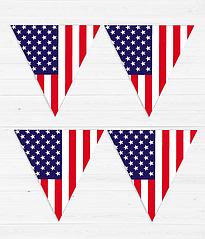 "Гирлянда из флажков ""Американский флаг"" (12 флажков)"