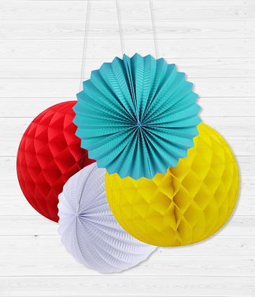 Набор бумажных шариков для украшения вечеринки (4 шт.)