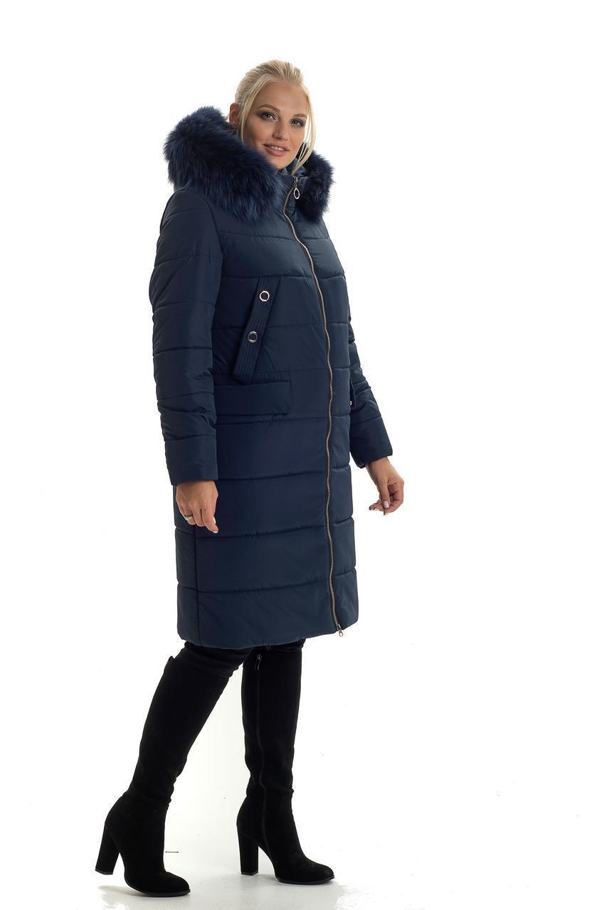 Женское зимнее пальто по колено с натуральным мехом, размеры 44-60