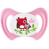 Силиконовая пустышка Nip Miss Denti №1, 0-6 мес. Розовая (31800)