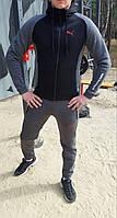 Спортивный костюм зимний теплый мужской серый с черным Puma Пума