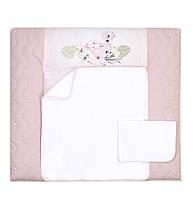 Пеленальный матрас для новорожденных тканевый Veres Flamingo pink