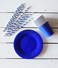"Набор посуды - тарелочки, стаканчики и трубочки ""Синий микс"" (30 шт.)"