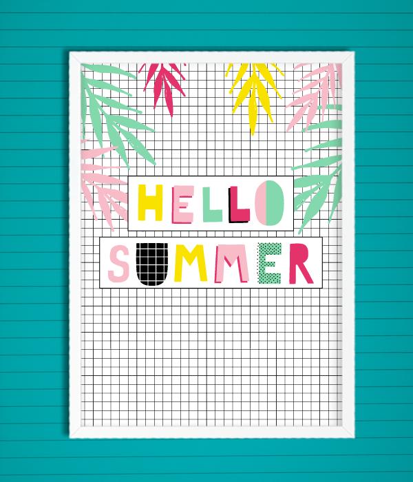 """Постер для украшения вечеринки """"Hello Summer"""""""