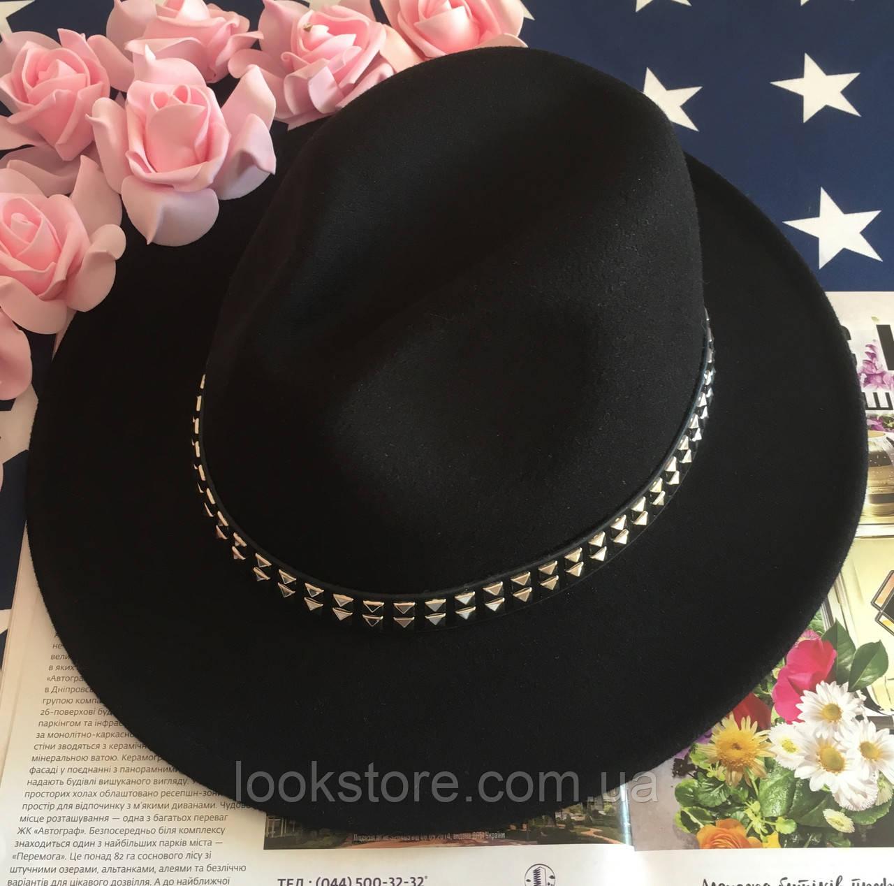 Шляпа Федора унисекс с устойчивыми полями с шипами черная