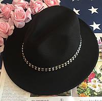 Шляпа Федора унисекс с устойчивыми полями с шипами черная, фото 1
