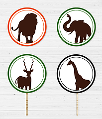 """Топперы для капкейков """"Safari Animals"""" (10 шт.)"""