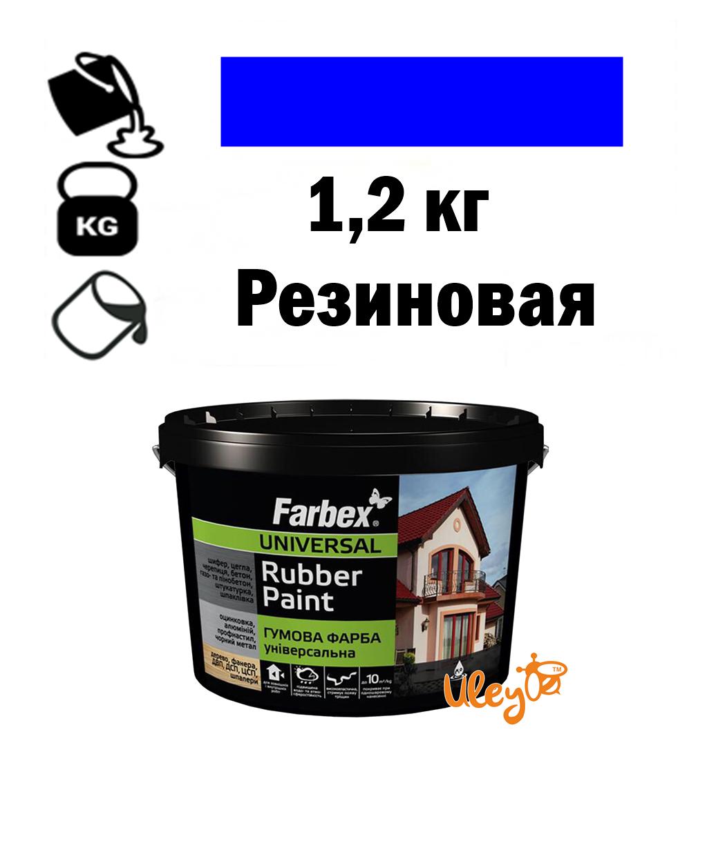 Краска для ульев, резиновая универсальная ТМ Farbex. Синяя - 1,2 кг