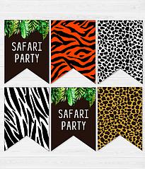 "Бумажная гирлянда из флажков ""Safari Party"" (12 флажков)"