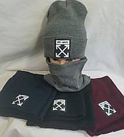 Комплект: шапка на флисе+ баф на флисе  РАЗНЫЕ РАСЦВЕТКИ шерсть+ акрил оптом со склада в Одессе.