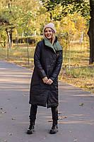 Двустороннее женское длинное тёплое пальто пуховик с карманами чёрное с хаки
