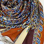 Четыре ветра 1881-66, павлопосадский шарф-палантин шерстяной с шелковой бахромой, фото 3