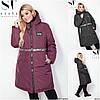 Р-ры 52-62 Зимняя удлиненная куртка с капюшоном Батал 20316