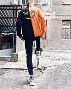 Толстовка худи Be Happy черно-оранжевый