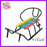 Санки со спинкой Vitan Лайка с цветными планками