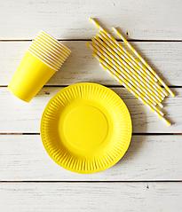 """Набор посуды - тарелочки, стаканчики и трубочки """"Желтый микс"""" (30 шт.)"""