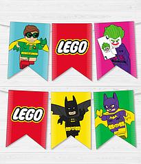 """Гірлянди з прапорців """"Лего Бетмен"""" (12 прапорців)"""