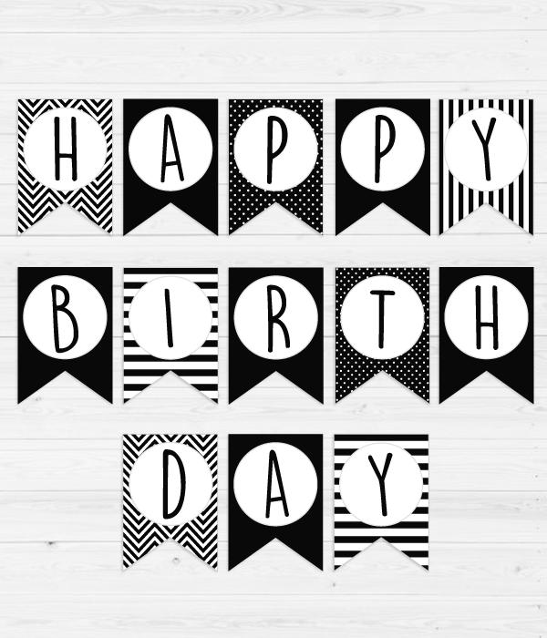 """Гірлянди з прапорців чорно-біла """"Happy Birthday"""""""