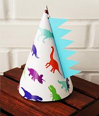 Колпачки для праздника с принтом динозавров 2 шт