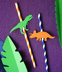 Бумажные трубочки с динозаврами ассорти (10 шт.)