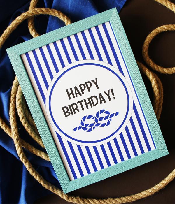 """Постер в морском стиле """"Happy Birthday!"""""""