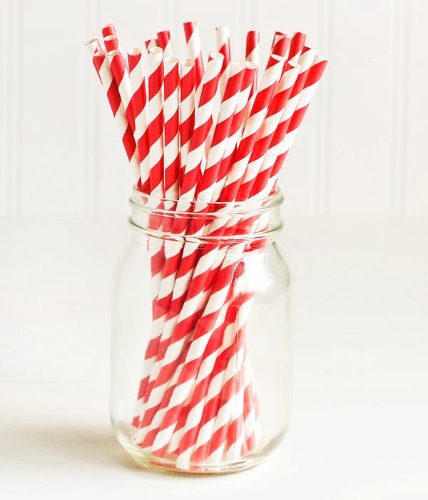 "Паперові трубочки ""Red white stripes"" (10 шт.)"