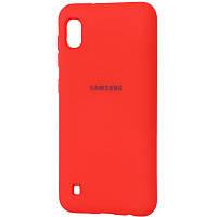 """Оригинальный чехол """"Silicon case"""" для Samsung Galaxy A10 (2019) A105 Soft Touch - красный с логотипом"""