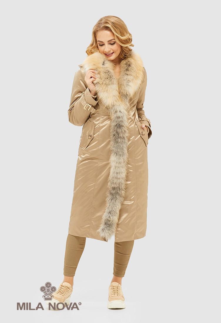 Зимняя парка - плащ  прямого силуэта со съемным шалевым воротником из меха Gold fox.