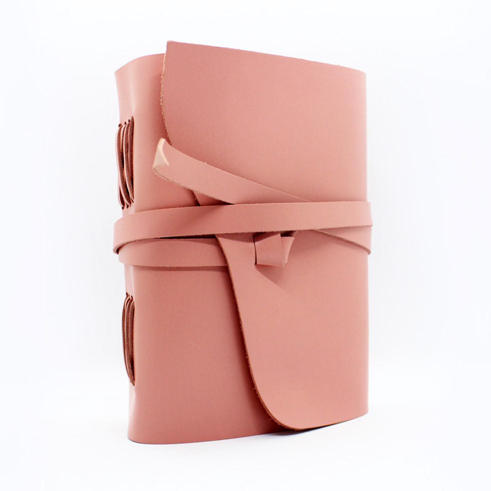Кожаный блокнот COMFY STRAP В6 женский розовый ручная работа