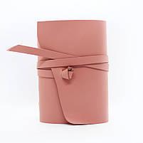 Кожаный блокнот COMFY STRAP В6 женский розовый ручная работа, фото 2