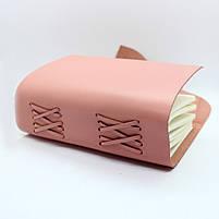 Кожаный блокнот COMFY STRAP В6 женский розовый ручная работа, фото 3