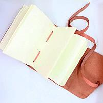 Кожаный блокнот COMFY STRAP В6 женский розовый ручная работа, фото 4
