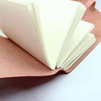 Кожаный блокнот COMFY STRAP В6 женский розовый ручная работа, фото 5