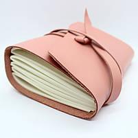 Кожаный блокнот COMFY STRAP В6 женский розовый ручная работа, фото 6