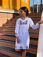 Детское платье Вышиванка, очень нарядное, белый