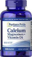 Puritans Pride Calcium Magnesium vitamin D3, 100caps, фото 1