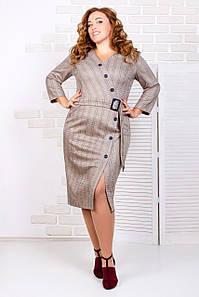 Элегантное офисное платье с пуговицами 50-56 р (разные цвета )