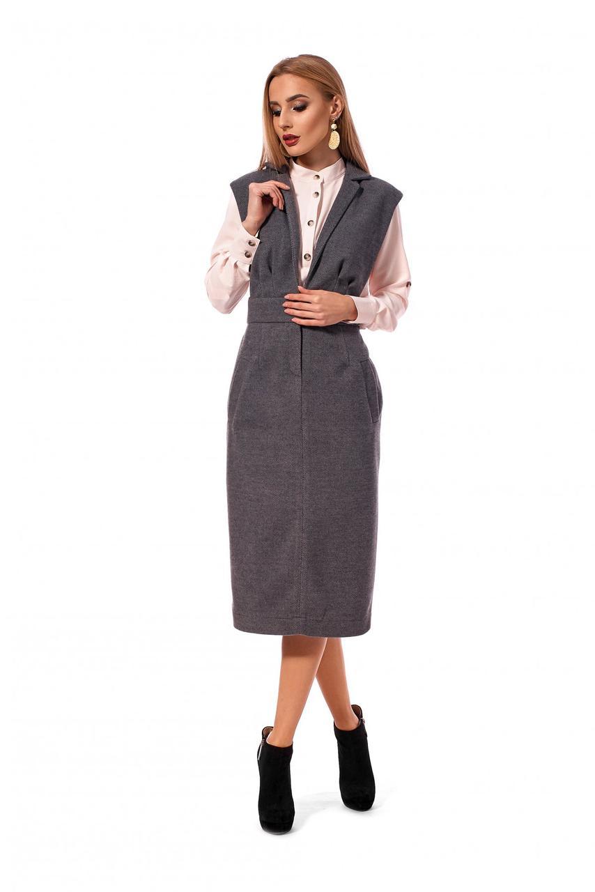 Женский сарафан прилегающего силуэта на широких бретелях / размер 42,48/ цвет 1197.1_серый