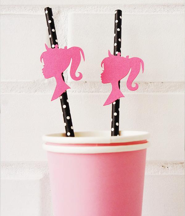 Бумажные трубочки с декорацией-Барби (10 шт.)